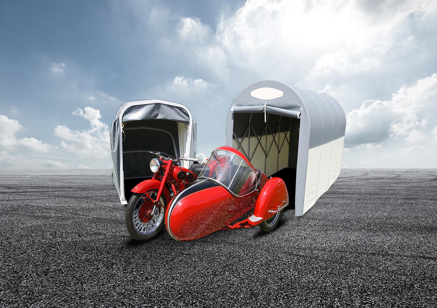 Tunnel- und Schneckengarage für Motorräder