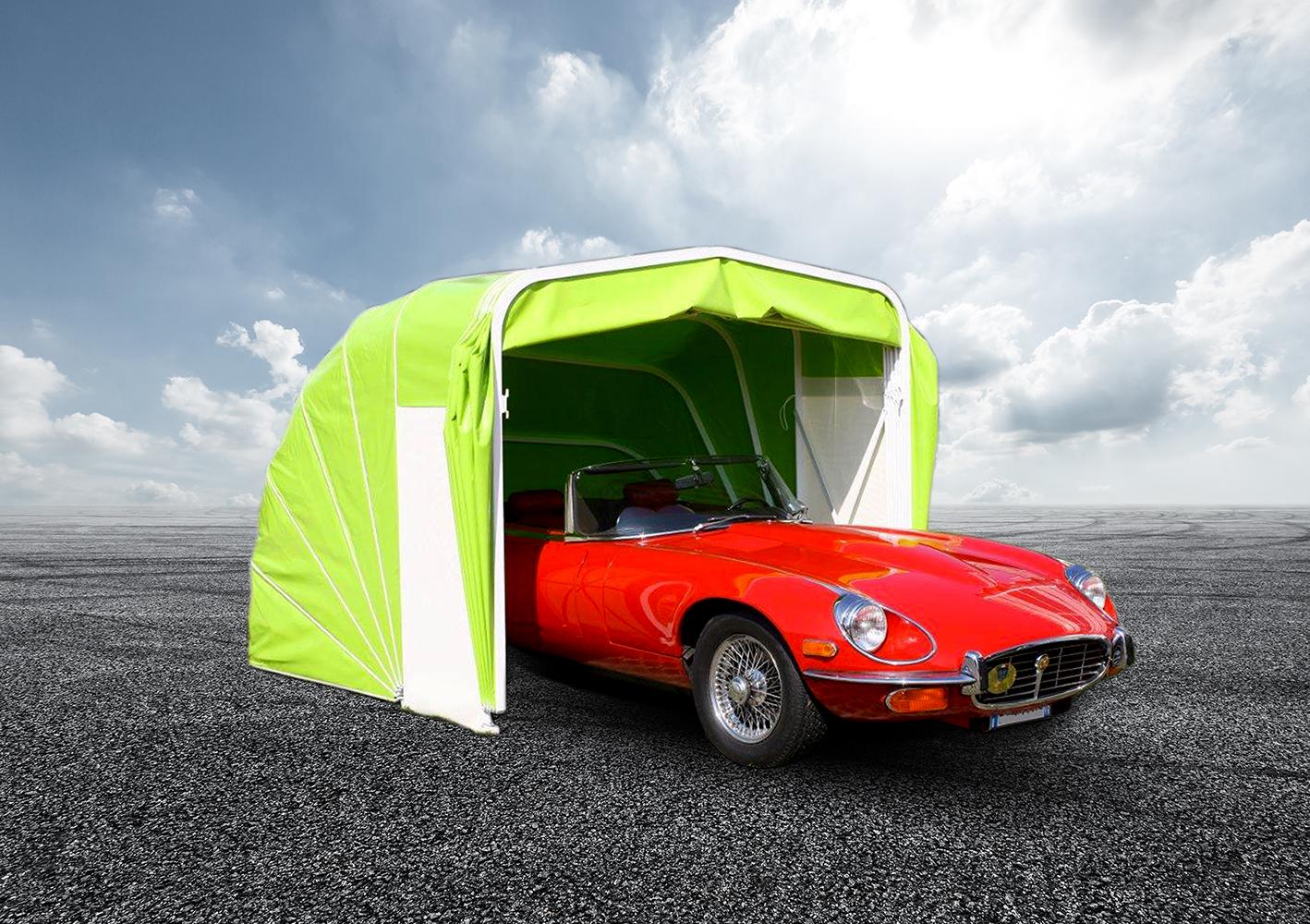 Klappgarage grün, platzsparend, mit Auto